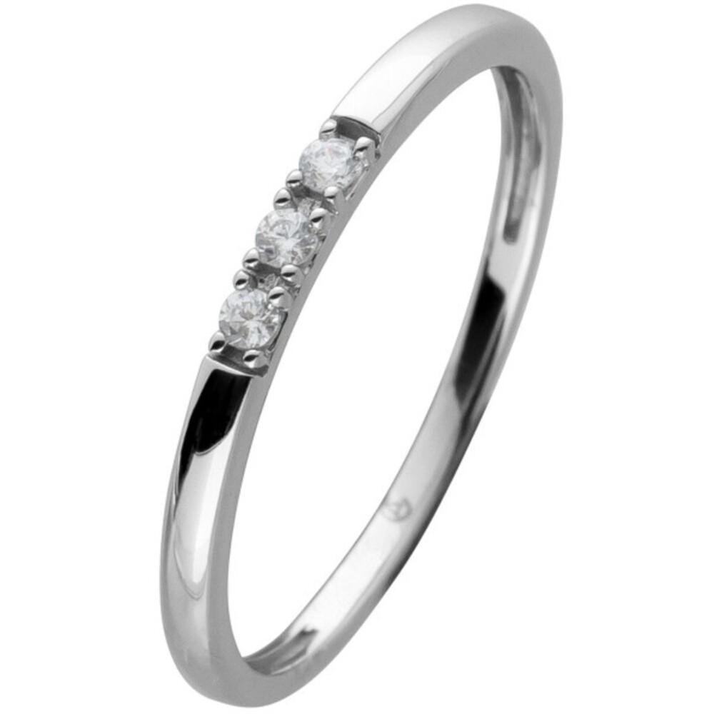Diamant Ring Weissgold 585 3 Brillanten 0,05ct W/SI