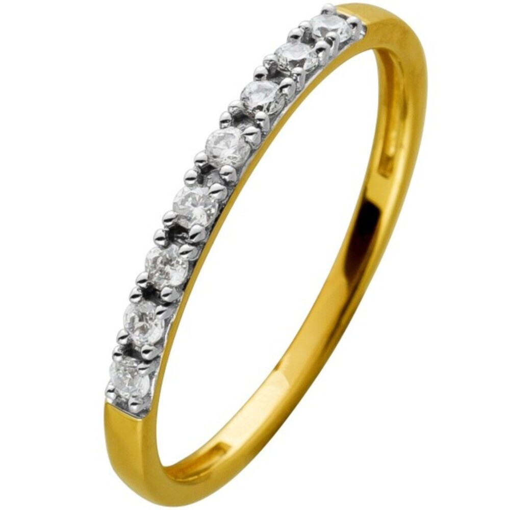 Memoirering Diamant Ring Gelbgold 585 8 Brillanten 0,15ct W/SI