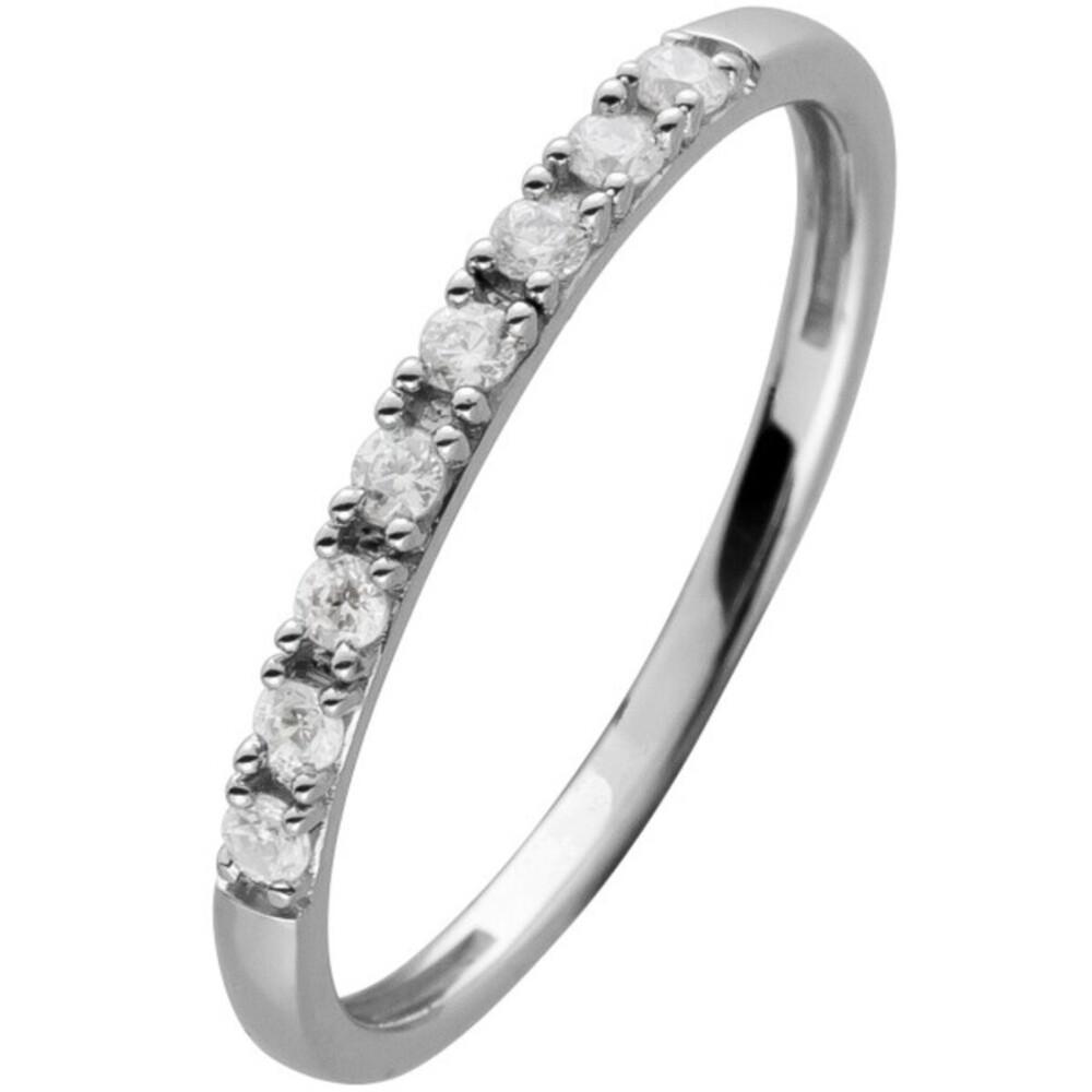 Memoirering Diamant Ring Weissgold 585 8 Brillanten 0,15ct W/SI