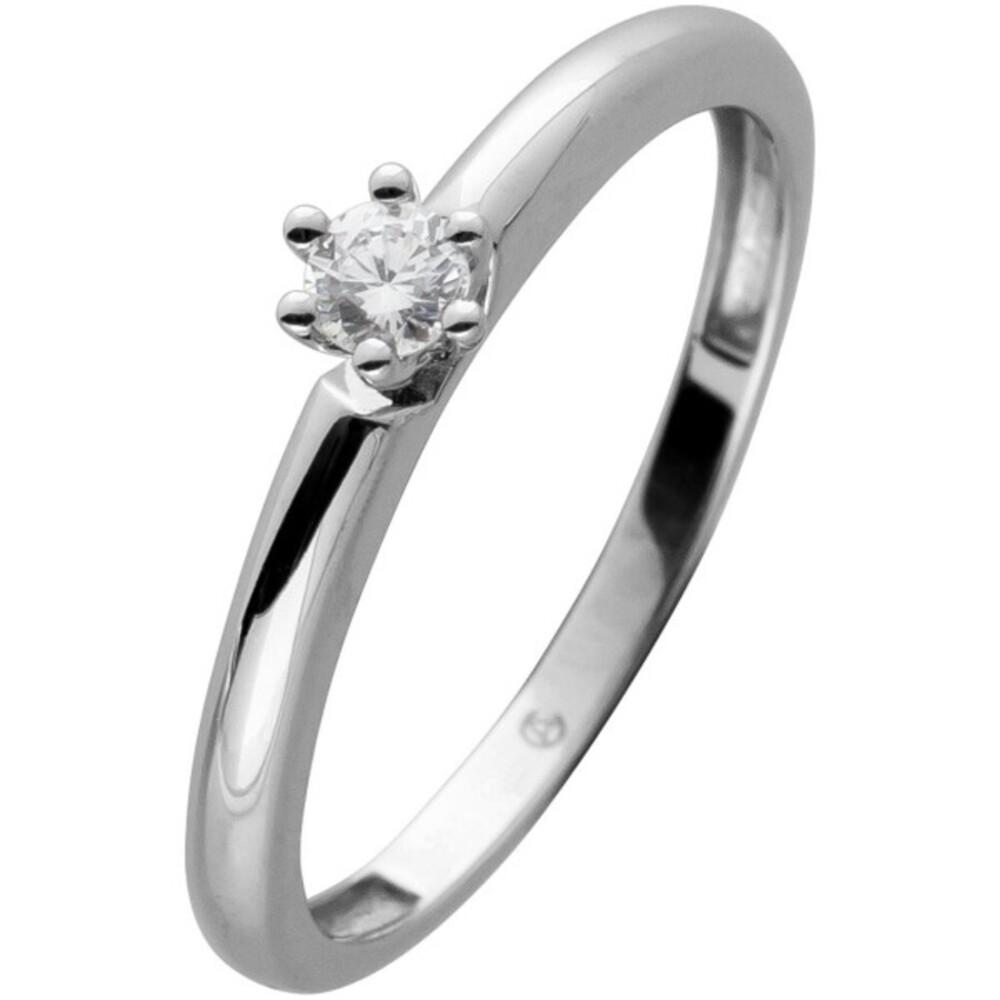 Ring weiß Gold 14 Karat 1 Brillant 0,10ct W/SI Solitärring Verlobungsring