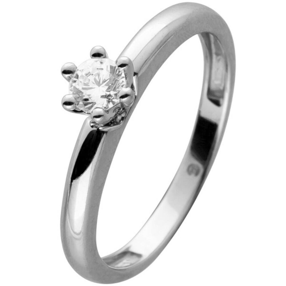Diamant Ring Weiß Gold 585 1 Brillant 0,20ct W/SI Verlobungsring Solitärring