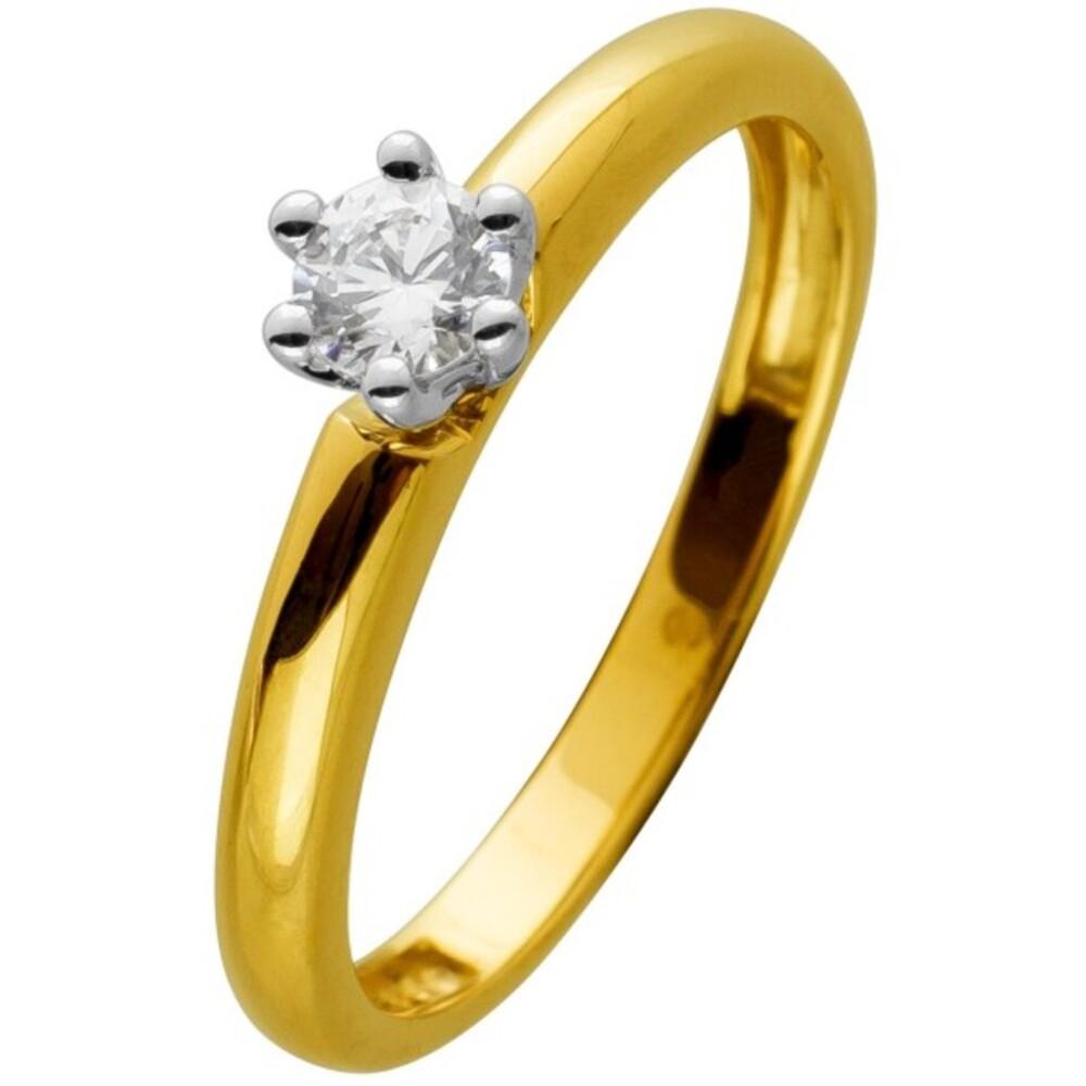 Diamant Ring gelb gold 585 1 Brillant 0,20ct W/SI Verlobungsring Solitärring
