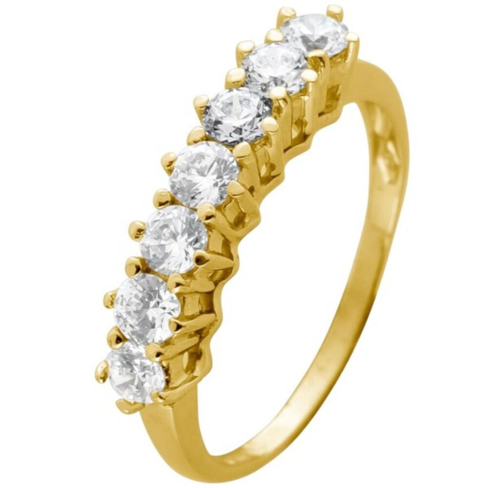 Memoire Alliance Ring Gelbgold 375 mit 7 Zirkonia in Krappen gefasst Breite 4mm