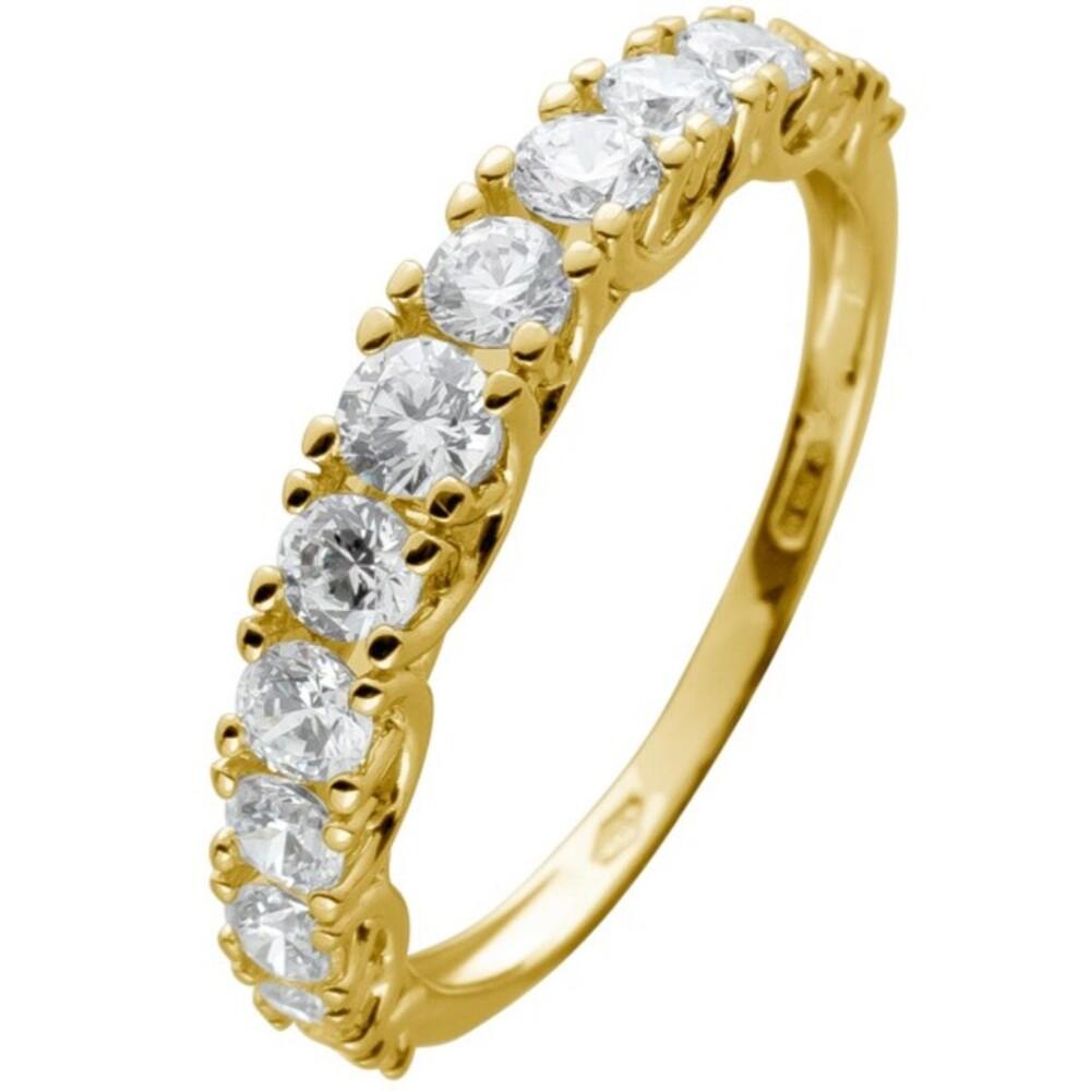 Memoire Alliance Ring Gelbgold 375 mit 13 Zirkonia in Krappen gefasst Breite 3,5mm