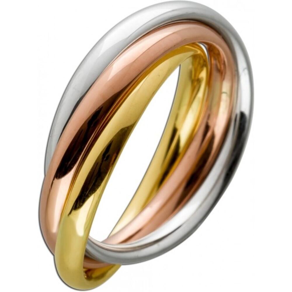 Tricolor Ring 3 Ringe ineinander Trinity Goldring Gelbgold Weissgold Rosegold 585 14 Karat halbmassiv