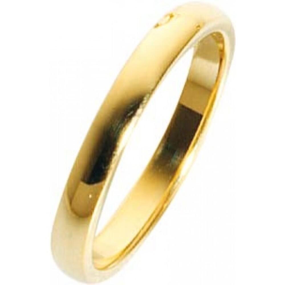 Trauring in Gelbgold hochglanzpoliert 750/  18 karat Breite 3mm, Stärke 1,3mm  Die Gravur der Trauringe sowie das Etui erhalten Sie kostenlos und bei diesen einfarbigen Trauringen - Eheringen ist auch der kostenlose jährliche Auffrischungsservice  beinhal