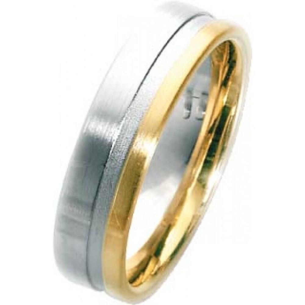 Trauring in Weißgold 750/- + Gelbgold 750/-, Breite 6,0mm, Stärke 1,9mm, der Ring ist matt poliert, die Gravur der Trauringe sowie das Etui erhalten Sie kostenlos und bei diesen einfarbigen Trauringen - Eheringen ist auch der kostenlose Auffrischungsservi
