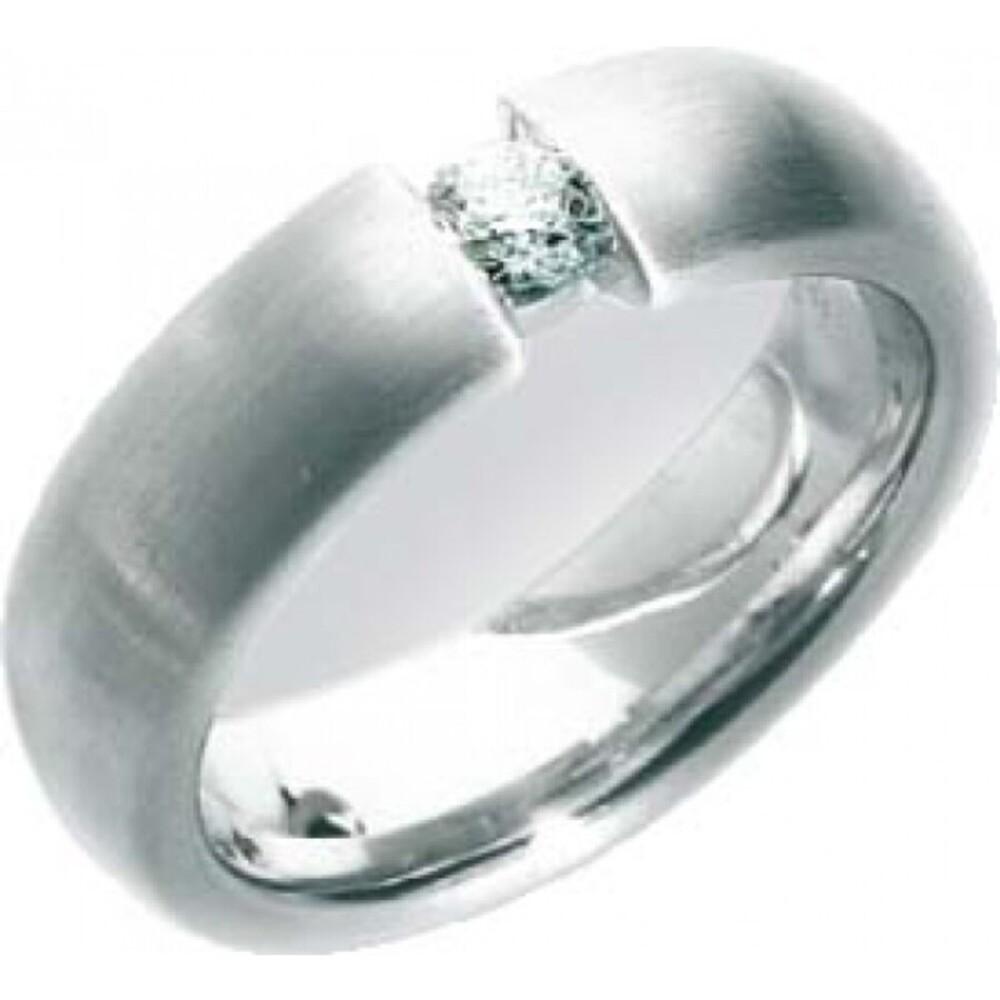 Trauring in Weißgold 750/-, Brill. 0,20ct W/SI, Breite 6,0mm, Stärke 2,5mm, der Ring ist poliert, die Gravur der Trauringe sowie das Etui erhalten Sie kostenlos und bei diesen einfarbigen Trauringen - Eheringen ist auch der kostenlose Auffrischungsservice