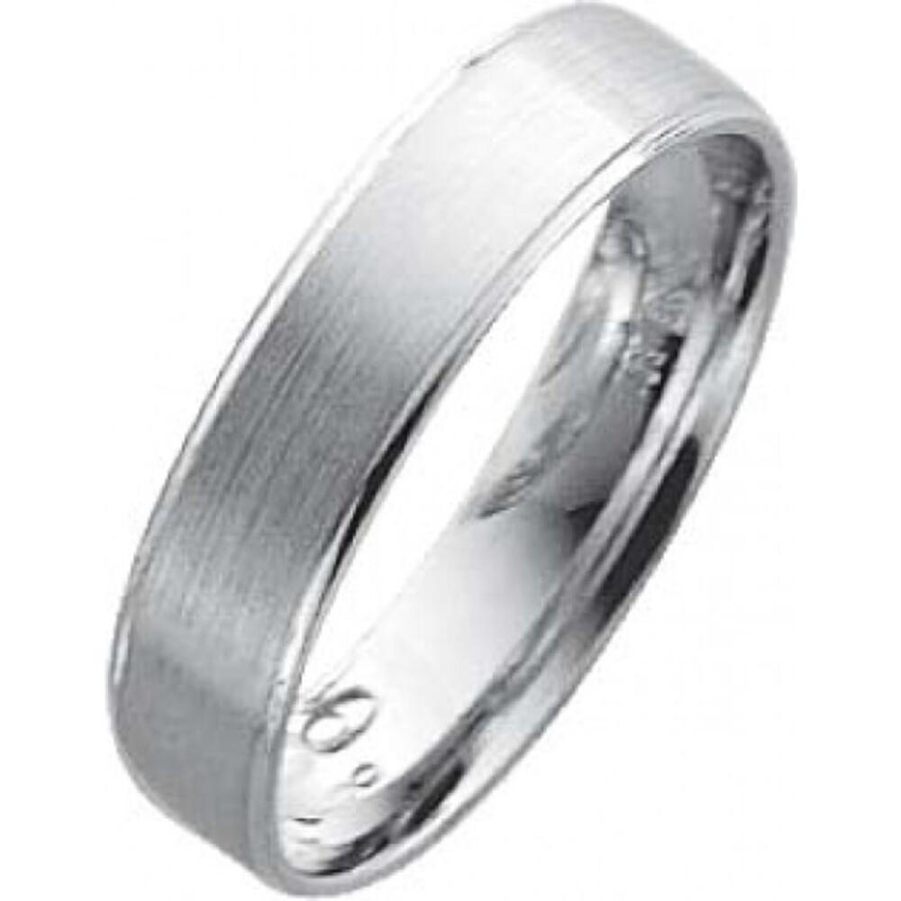 EheringTrauring Weißgold in 18k 750/,   Breite 5,0mm, Stärke 1,1mm der Ring ist hochglanz ist mattiert und an beiden Ränderrn abgestuft hochglanzpoliert und von innen für den tragecomfort leicht abgerrundet die Gravur der Trauringe sowie das Etui ist im P