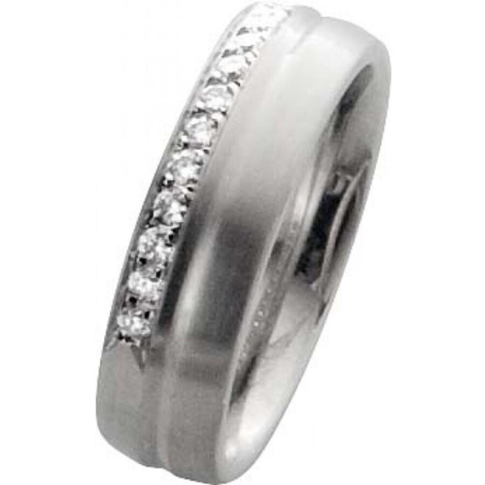 Trauring in Weißgold 18K  750 /-,mit  echten15 Brillanten zusammen 0,30ct W/SI, Breite 6,0mm, Stärke 2,1mm, der Ring ist matt  mit polierter Rille, die Gravur der Trauringe sowie das Etui erhalten Sie kostenlos und bei diesen einfarbigen Trauringen - Eher