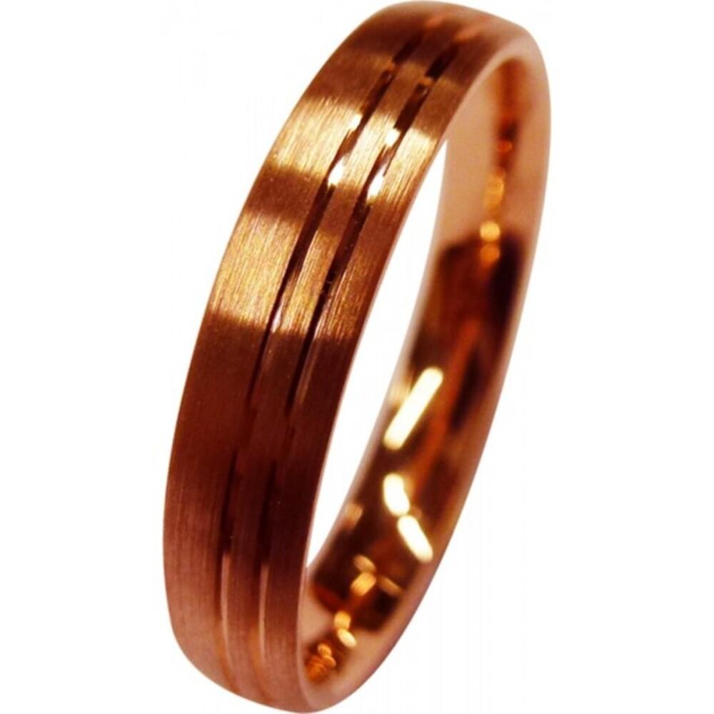 Trauring in Rotgold 585/- mit 2 feinen polierten Fugen, der Ring an sich ist längsmattiert, mit angenehmer Bombierung für den Tragecomfort, 4x 1,6mm (Default)