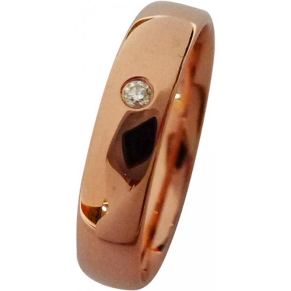 feiner Trauring in Rotgold,hochglanzpoliert mit einemeingeriebenen Brillant 0,02ct WSI2, leichte Bombierungfür angenehmes Tragen (Default)