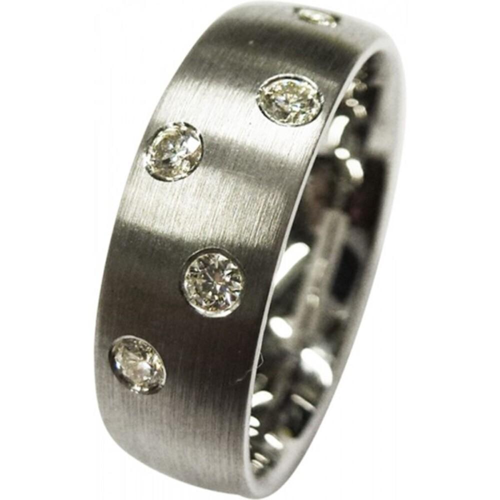 feiner eleganter Ring in Weissgold 333/- mit insgesamt5 Brillanten je 0,03ct zus0,15ct wsi2, längsmatt,6x1,6mm, (Default)