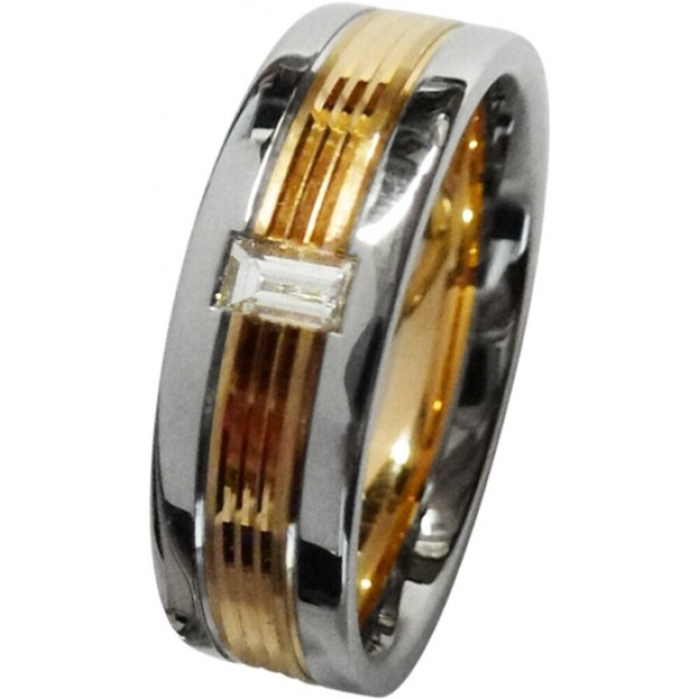 feiner Trauring in Platin600 und Rosegold 585/-matt und poliert, 3 fugen, mit einem strahlenden Baguette Diamant 0,12ct TW/VSI, angenehme Bombierung (Default)