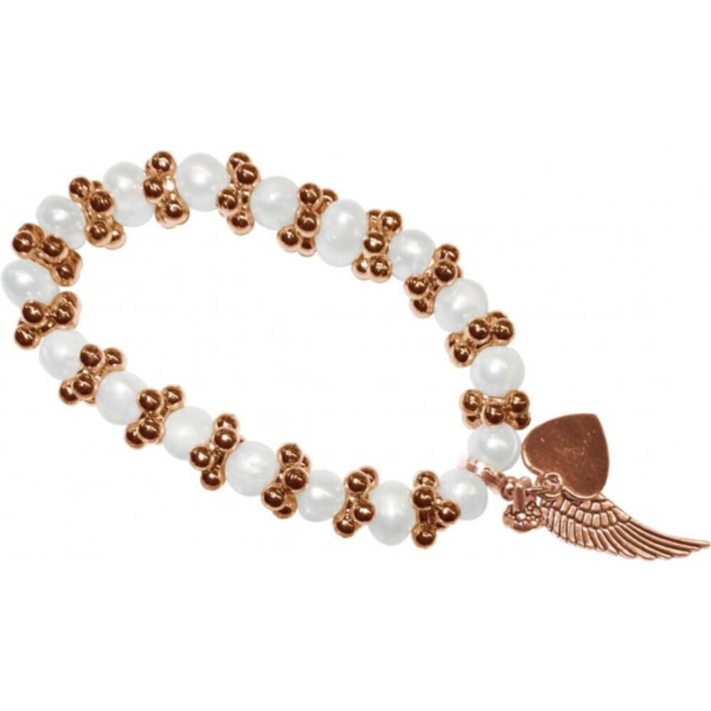 Armband dehnbar mit Süßwasserzuchtperlen, Zwischenteile, Flügel und Herz Metall rosevergoldet bei Abramowicz dem Schmuckgroßhandel