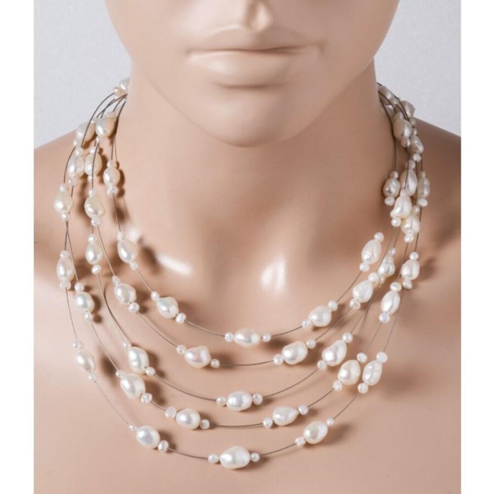 5-reihige Perlenkette weisse Süsswasserperlen 4-8mm Federringverschluss 925/- 40+7cm Länge versetzt
