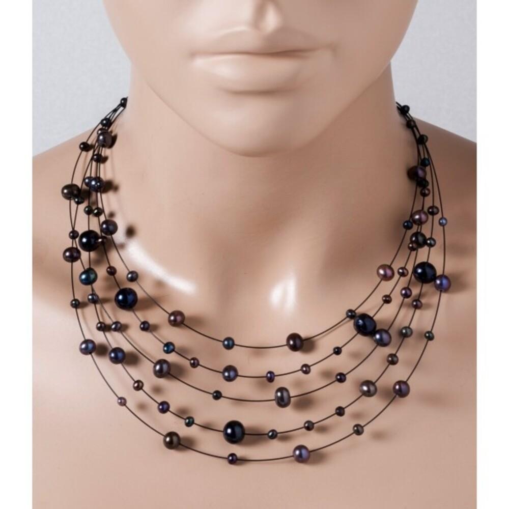 5-reihige Perlenkette schwarze Süsswasserperlen 4-9mm schwarzer Draht Federringverschluss 925/- 40+7cm Länge versetzt