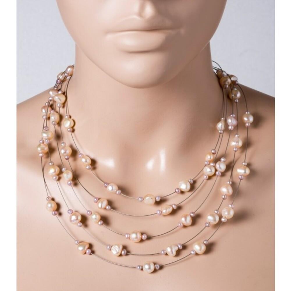 Perlen Collier Halskette 5-reihig Süsswasserperlen lila-pfirsichfarben Edelstahldraht Silber 925 Verschluss 43+5cm_0
