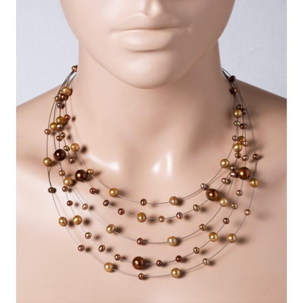 Perlen Collier Halskette 5-reihig Süsswasserperlen braun bronze Edelstahldraht Silber 925 Verschluss 43+5cm_0