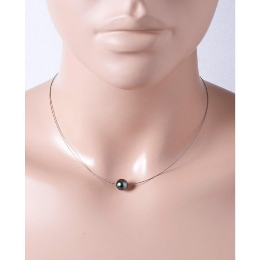 Perlen Stahldraht Halskette Collier Tahitiperlen Anhänger Silber 925 Karabiner 38+7cm