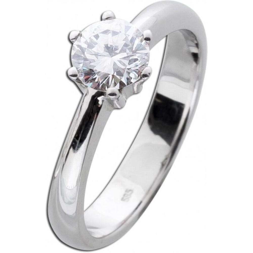 Solitär Ring Diamant Brillant Verlobungsring Weißgold 585 14 Karat 0,77ct W / VSI _01