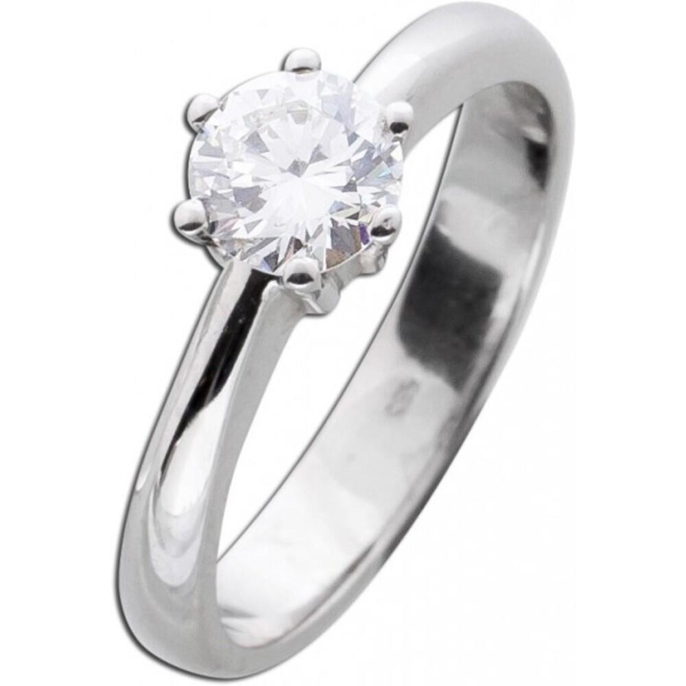 Solitär Ring Diamant Brillant Vorsteckring Weißgold 585 Brillant 0,76ct TW/VSI _01