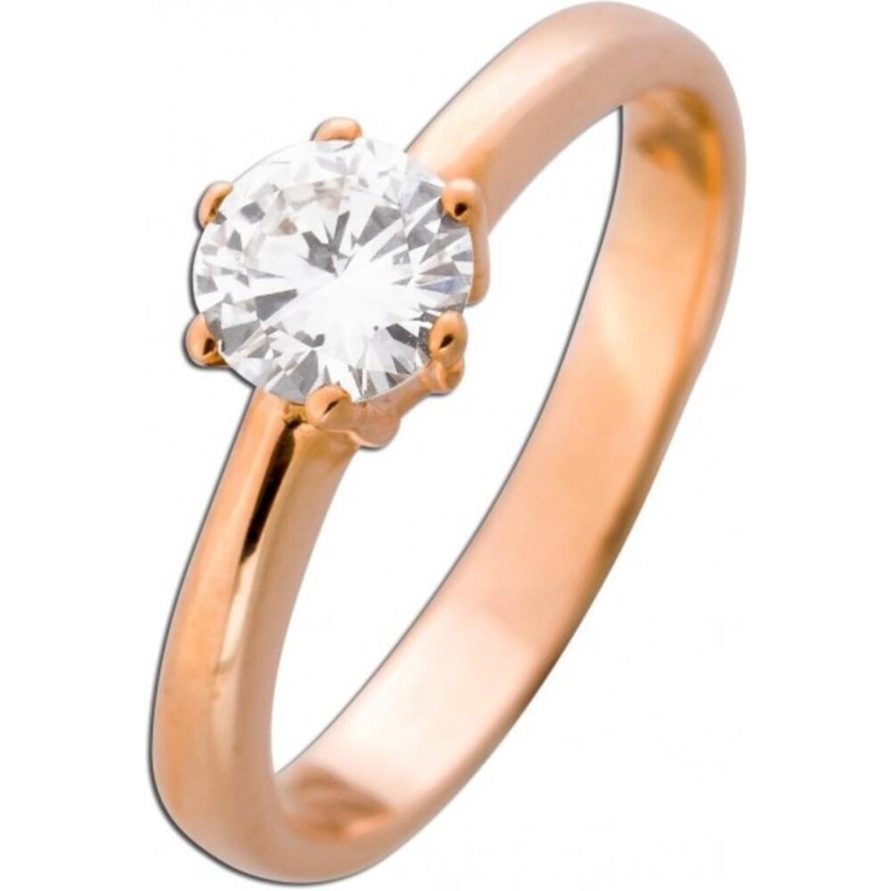 Solitär Ring Diamant Verlobungsring Brillant Roségold 585 0,69ct TW / VVSI _02