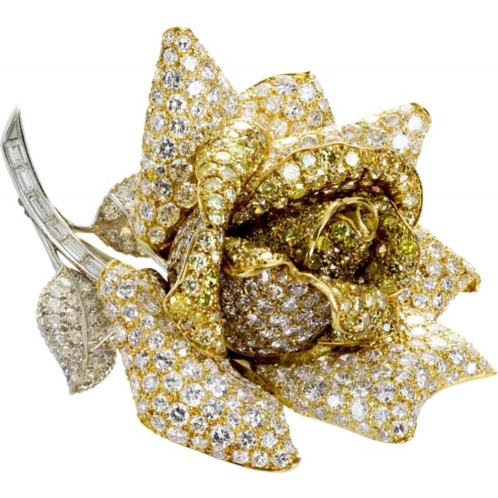 Diamantbrosche Rose Anstecknadel Gelbgold Weißgold 18kt 520 Diamanten Brillantschliff  54 Carat  2