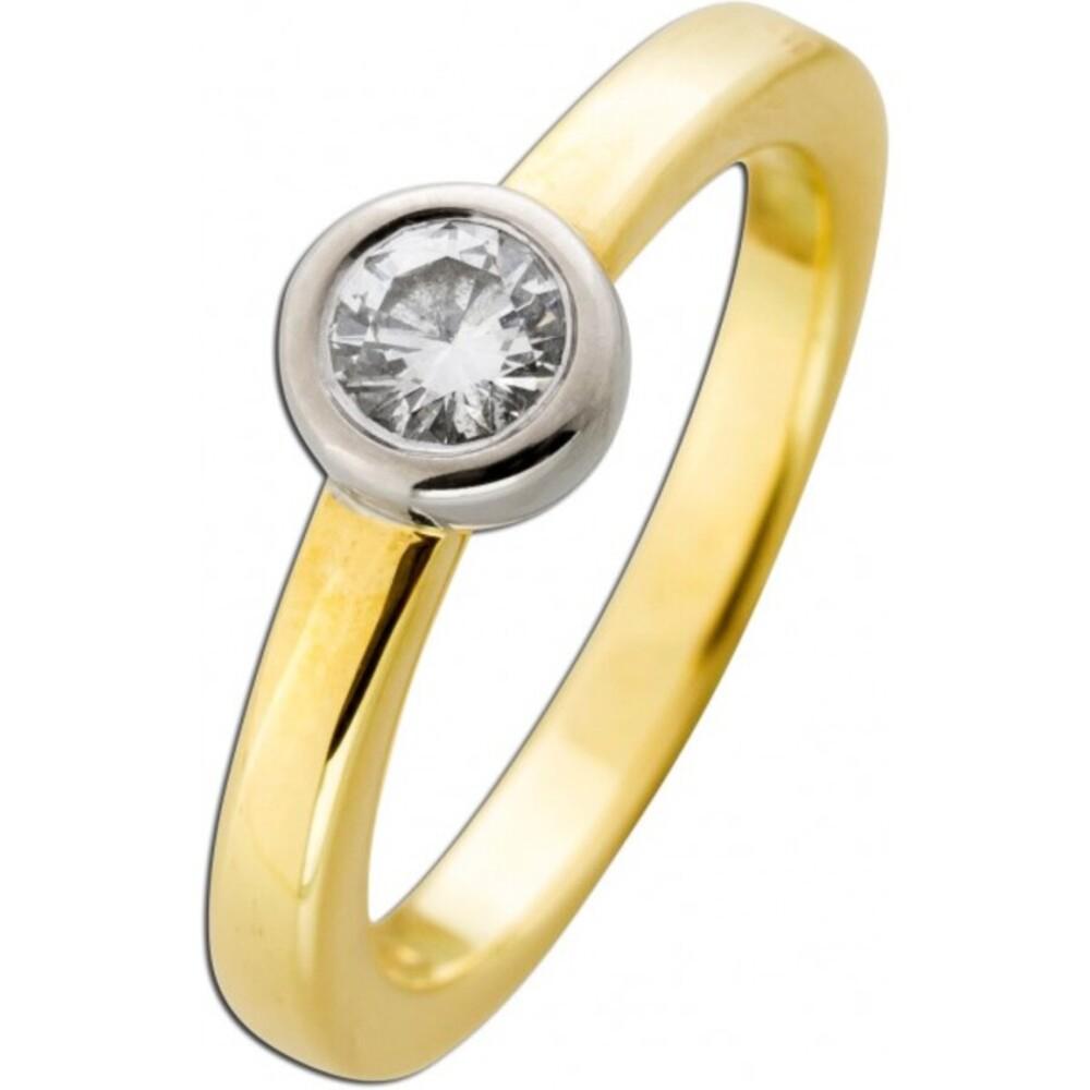 Solitär Ring - Gelbgold  Weißgold 585 Brillant 0,50ct TW / VSI Halbkaräter
