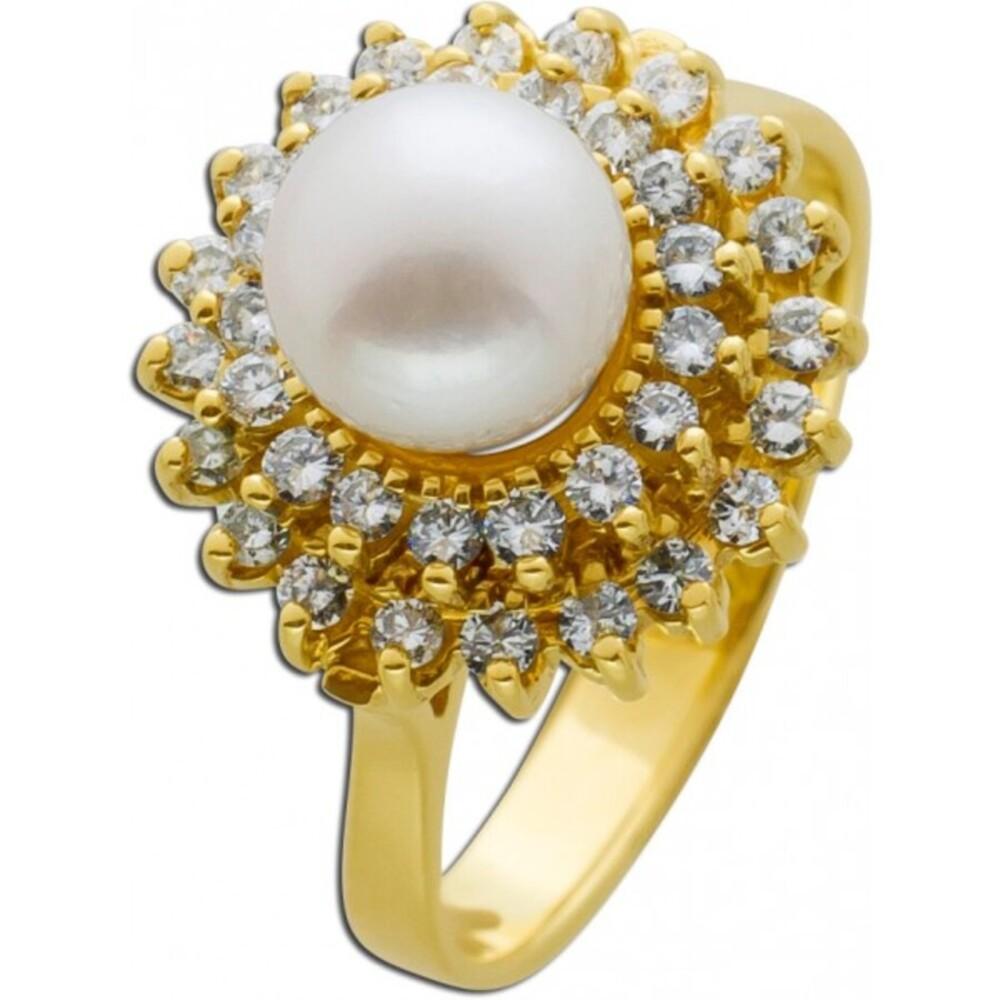 Perlenring weißer Akoyazuchtperle weißen Brillanten Gelbgold 585 Damenschmuck