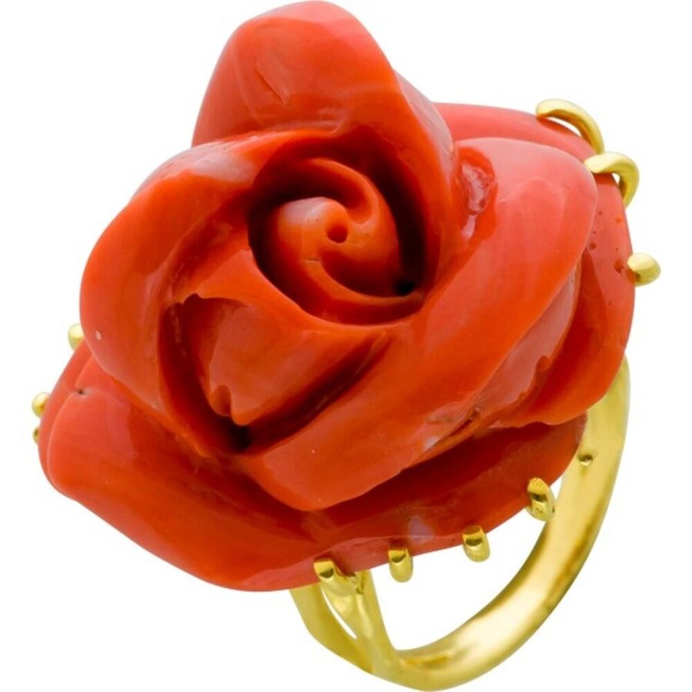 Antiker Edelstein Ring Gelbgold 750/- orangefarbene Naturkoralle Rosenform 60er Jahre