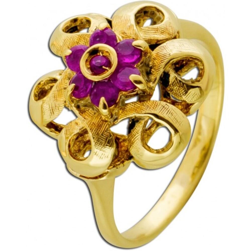 Antiker Roter Rubin Edelstein Ring Gelb Gold 585/- 30er Jahre Krappenfassung Damen
