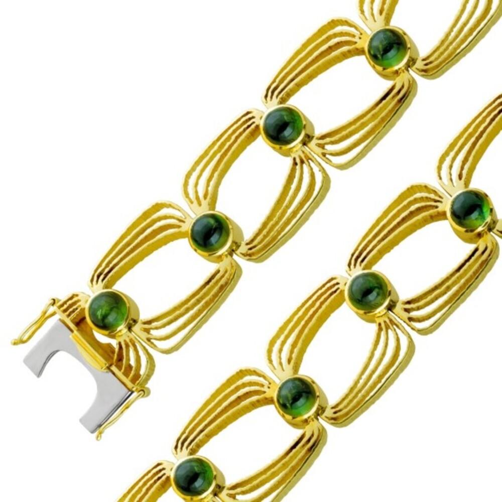 Antikes grünes Turmalin Edelstein Armband Gelb Gold 585 Damen 18,8cm mit Görg Zertifikat
