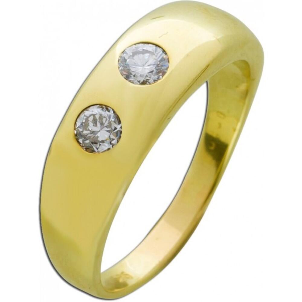 Weißer Brillantring antik um 1970 Gelbgold 585 Designer Herren Damenring  1