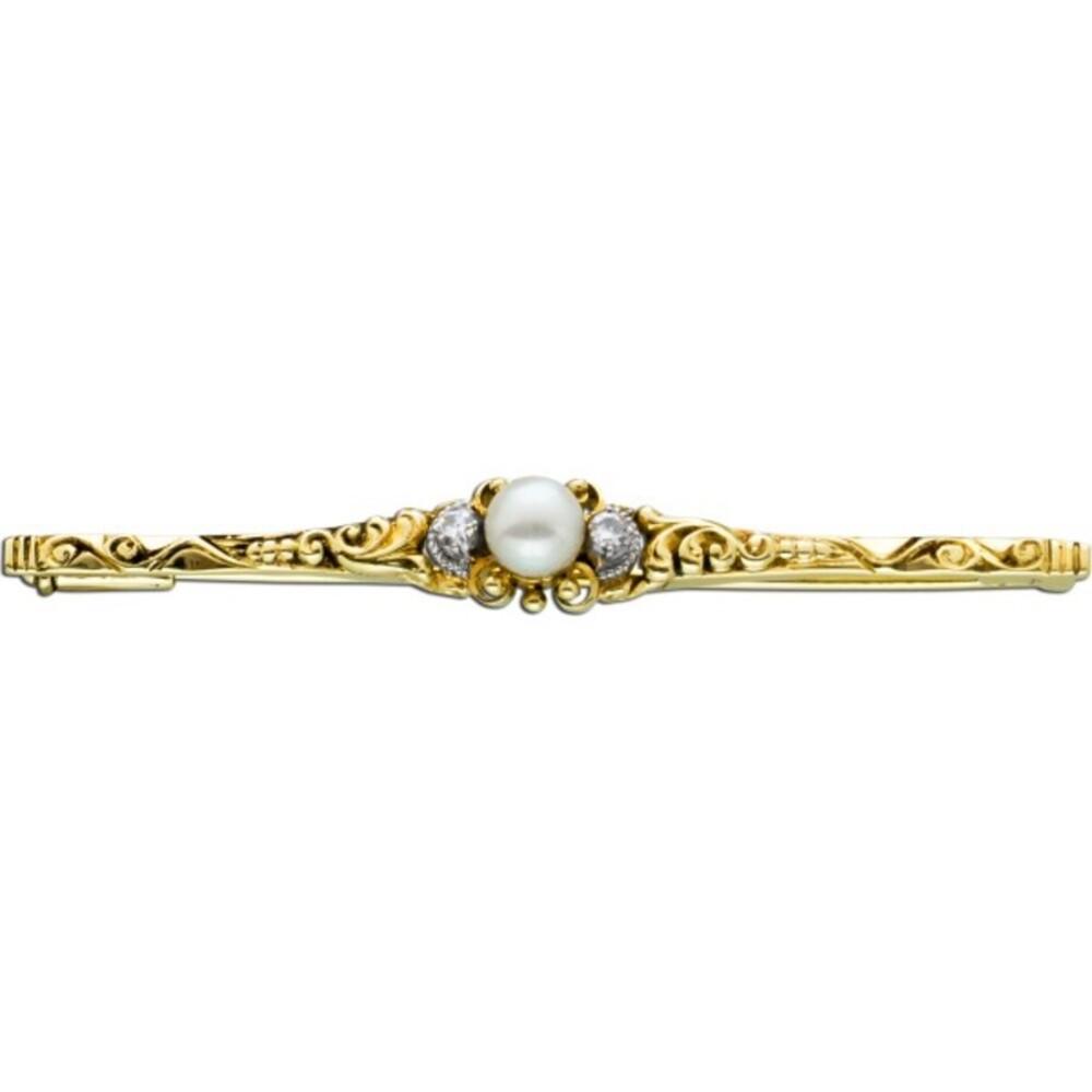 Antike Anstecknadel Brosche Anhänger Gelbgold 585 Orientperle weiss-rose Diamanten 8/8 W/SI zus 0,06ct