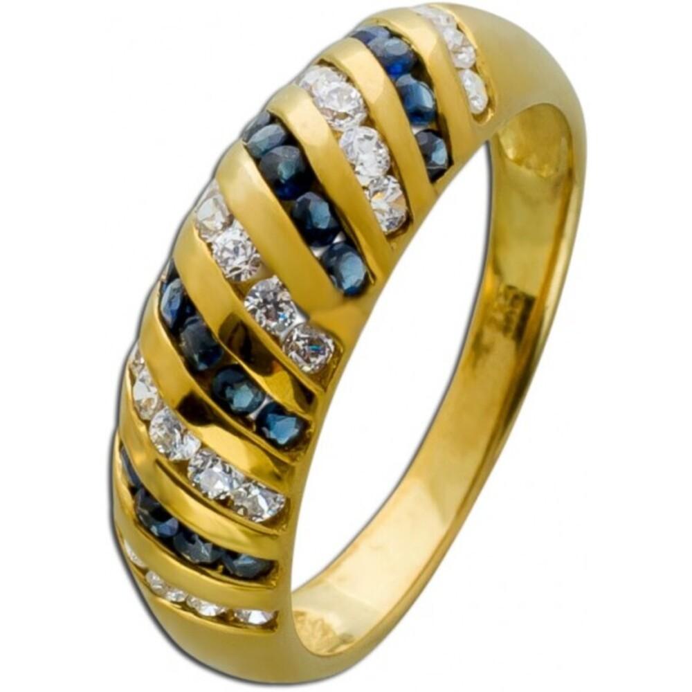 Blauer Edelstein Ring Saphiren Gelbgold 333/- weißen Zirkonia Damenschmuck