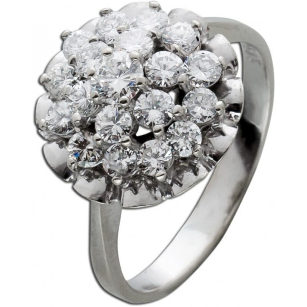 Antiker Ring weißen Brillanten Weissgold 585/- Brillantschmuck 70er Jahren IGI Zertifikat