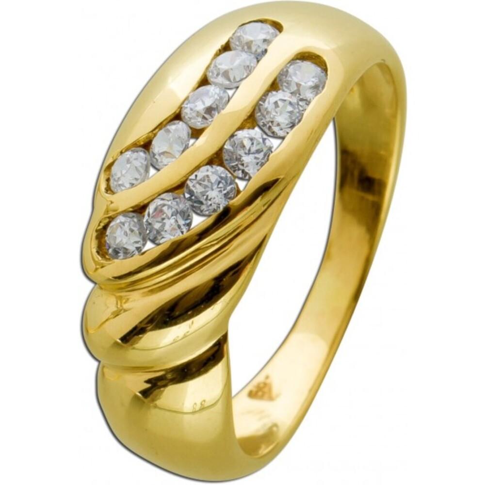 Moderner Ring Gelbgold 585/- 11 Zirkonia kanalgefasst, Gr. 17,4mm