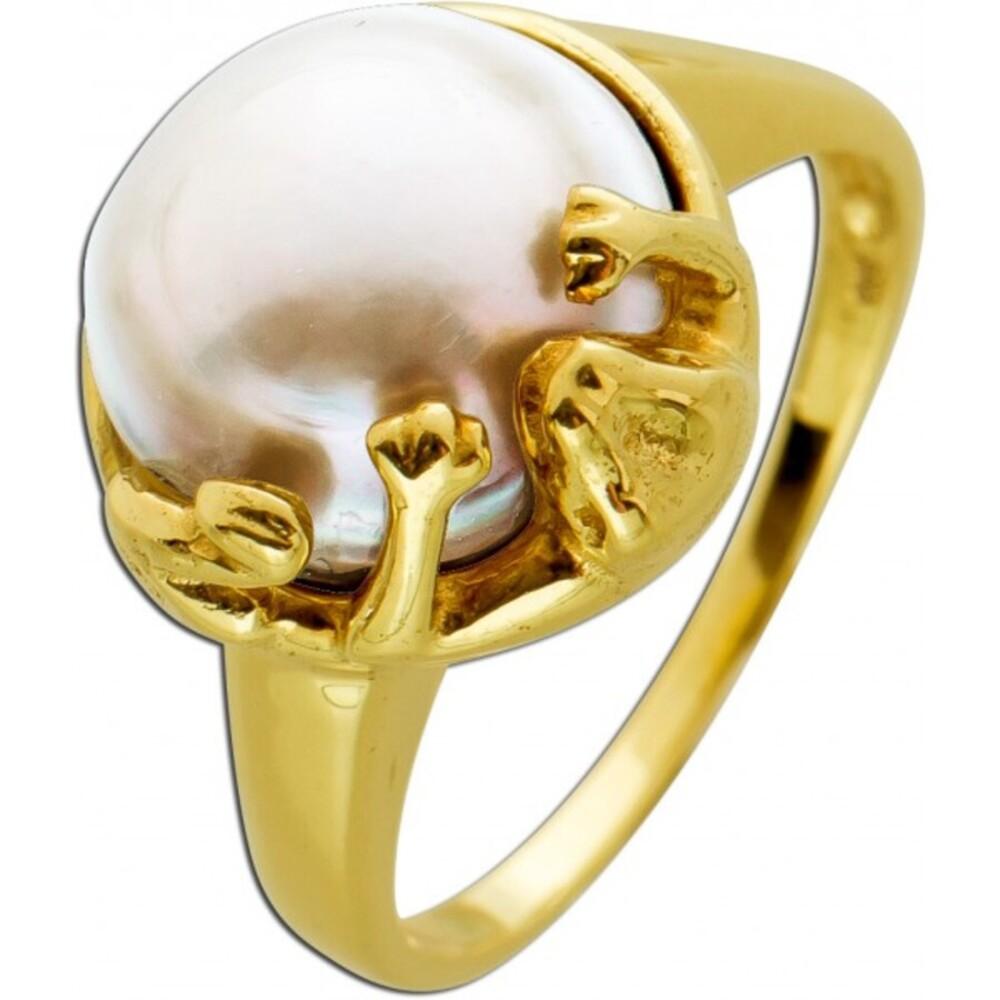 Mabe Perlenring Gelb Gold 585/- Krokodilsfassung  Damen Schmuck