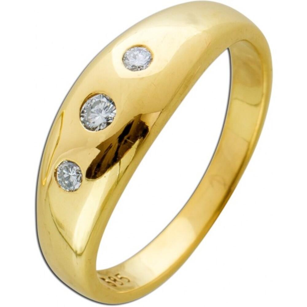 Klassischer Ring weißen Brillanten Gelbgold 585 Brillant Schmuck