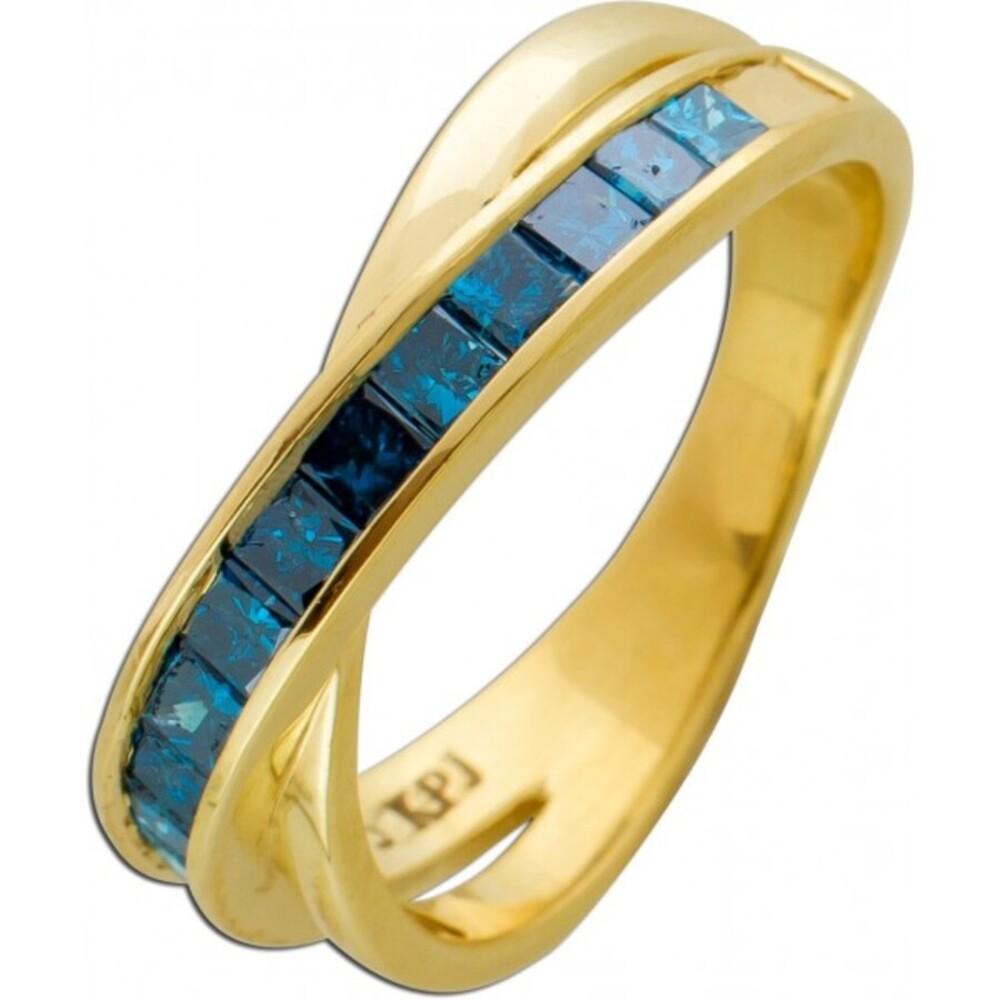 Diamantring blauen Diamanten Gelbgold 333 Princess Cut 1,5ct mit Görg Zertifikat