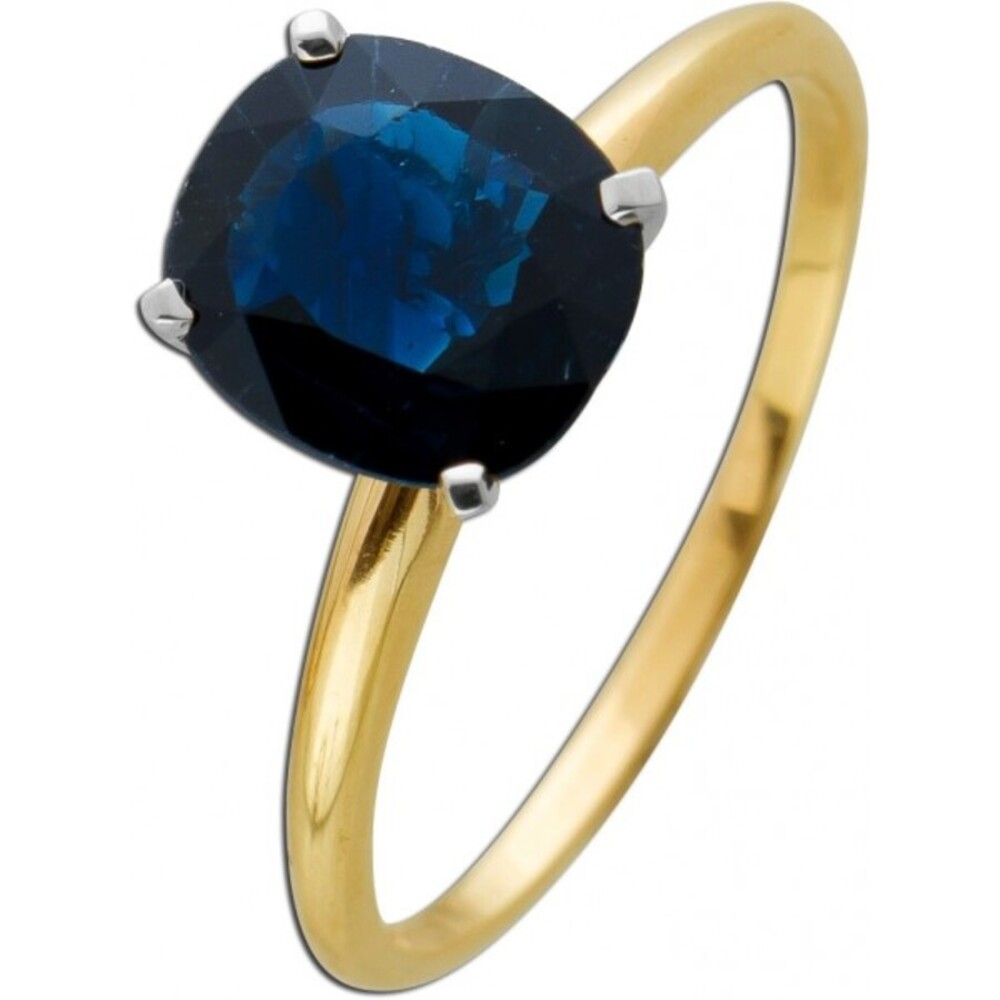 Solitär Ring Gelb Gold 585 ovaler blauer Saphir 1,70ct Weissgold IGI und Görg Zertifikat Krappenfassung Blauer Edelstein