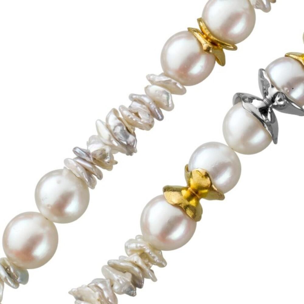 Perlenkette Akoya/ Keshi Perlen Gelb Weissgold 585 Zwischenteile Endlos 92cm mit Görg Zertifikat