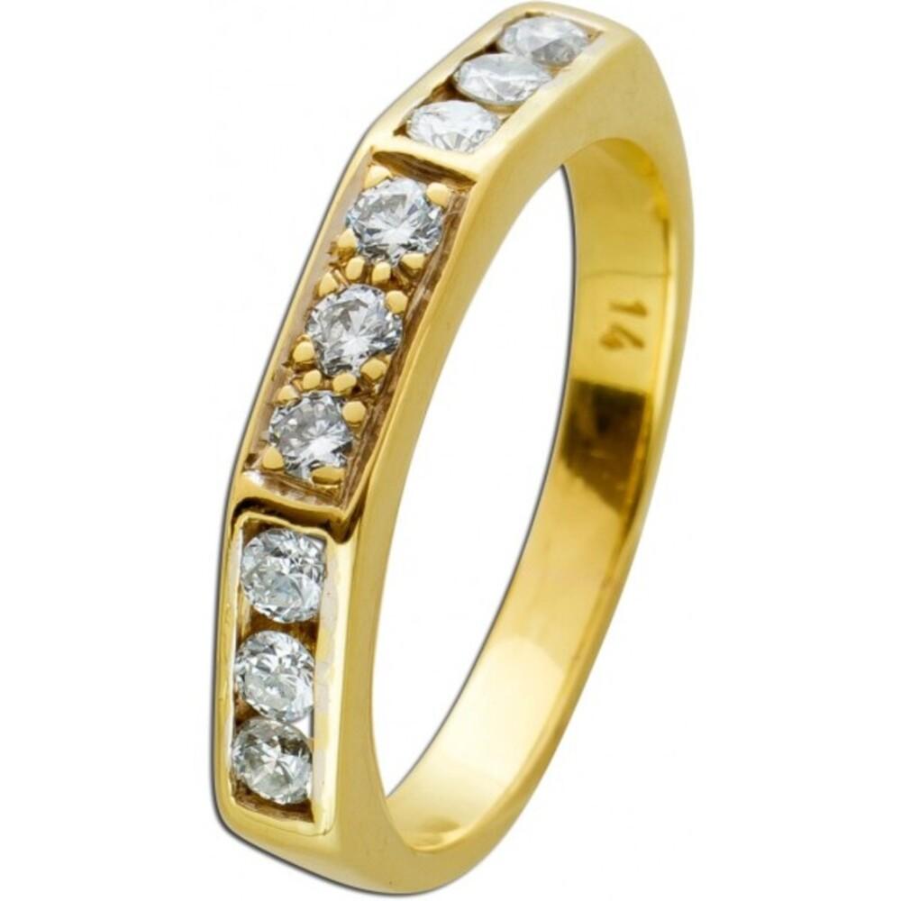 Brillant Ring weißen Brillanten Gelbgold 585 0,45 CT TW/SI