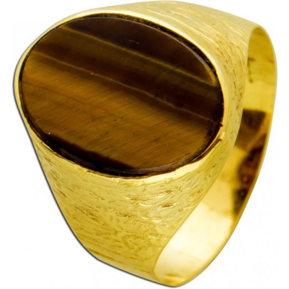 Antiker Tigeraugen Ring  50-er Jahren Gelbgold 333 Edelsteinschmuck