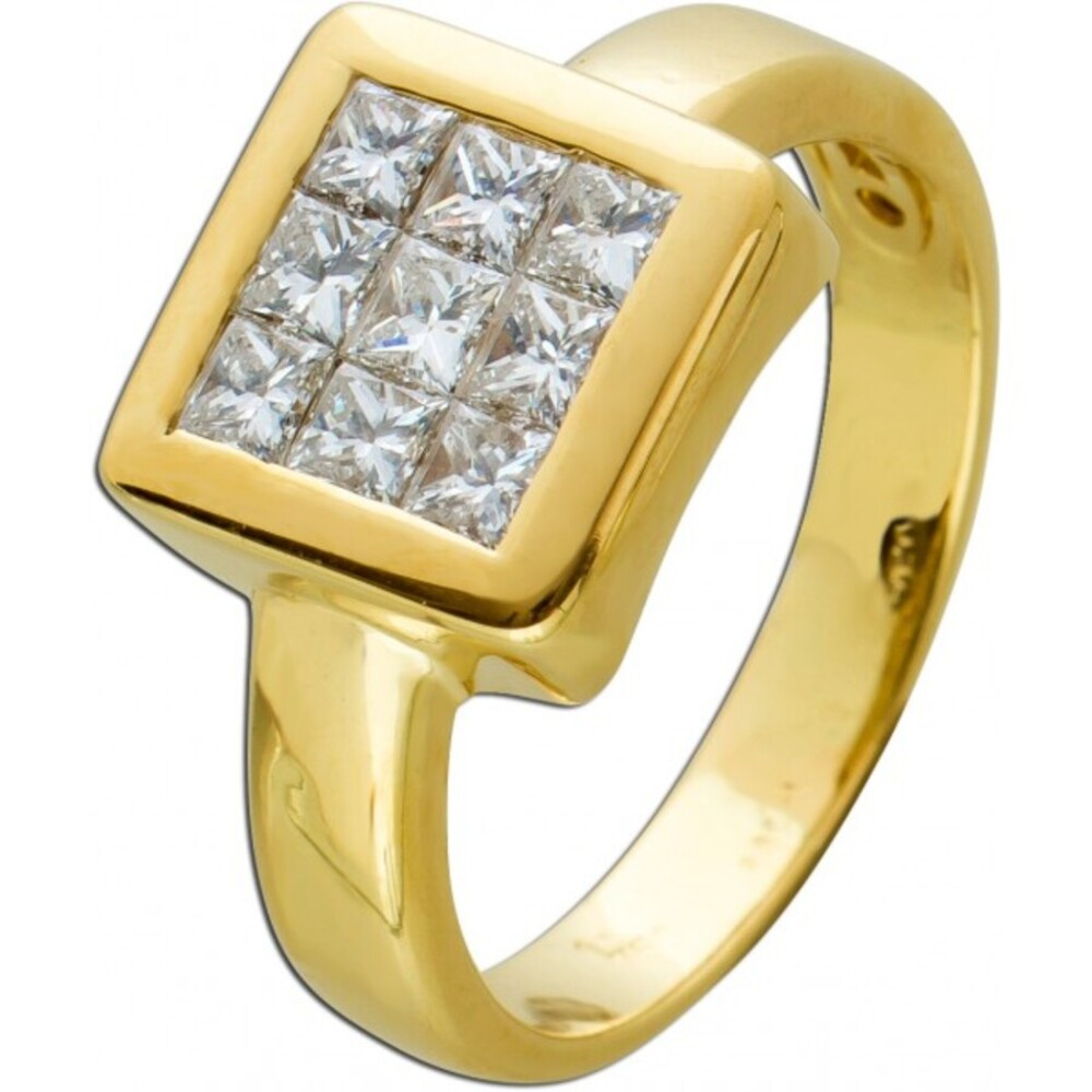 Antiker Brillantring 80er Jahren weißen Diamanten Gelbgold 750 Diamanten 1,0 CT TW/VVSI 1
