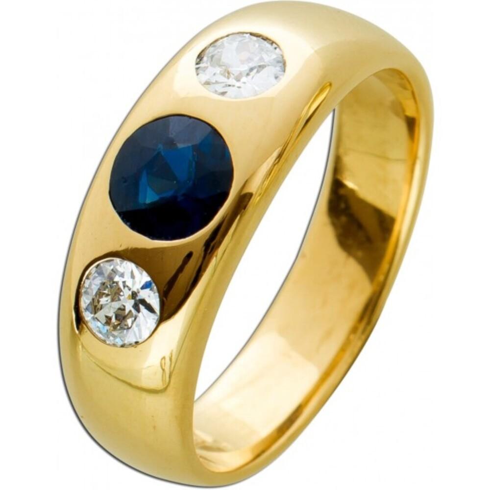 Antiker Edelstein Herrenring Gelbgold 585/- blauer Saphir ca 1,0ct weisse Brillanten zus. ca 0,50ct TW/SI IGI Zertifikat