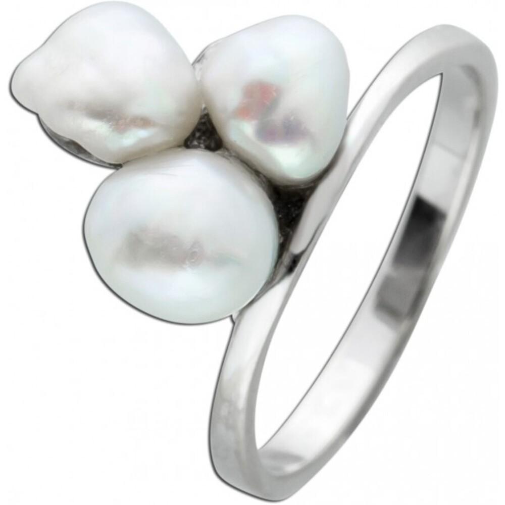 Perlen Ring Weissgold 585 weisse Biwa Perlen  moderner Designerring 18mm_01