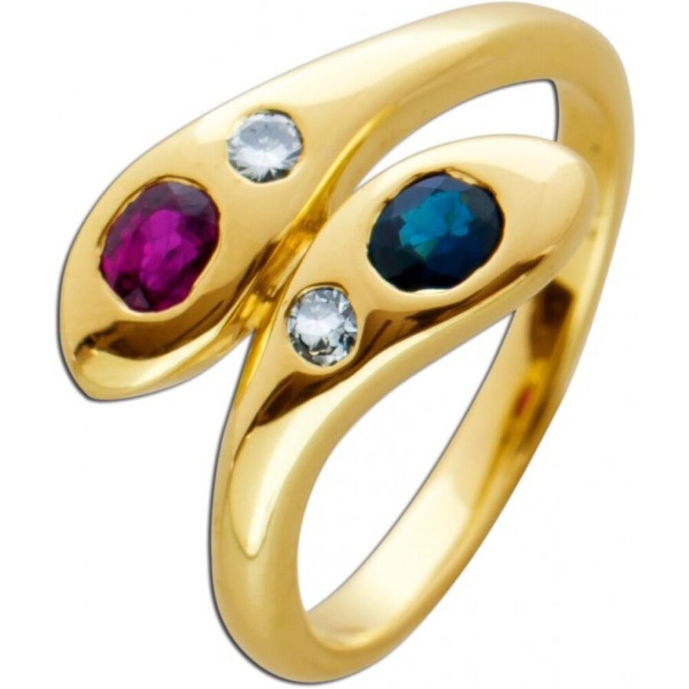 Schlangen Edelstein Ring Gelbgold 585 roter Rubin blauer Saphir weisse Brillanten zus.0,08ct TW/VSI
