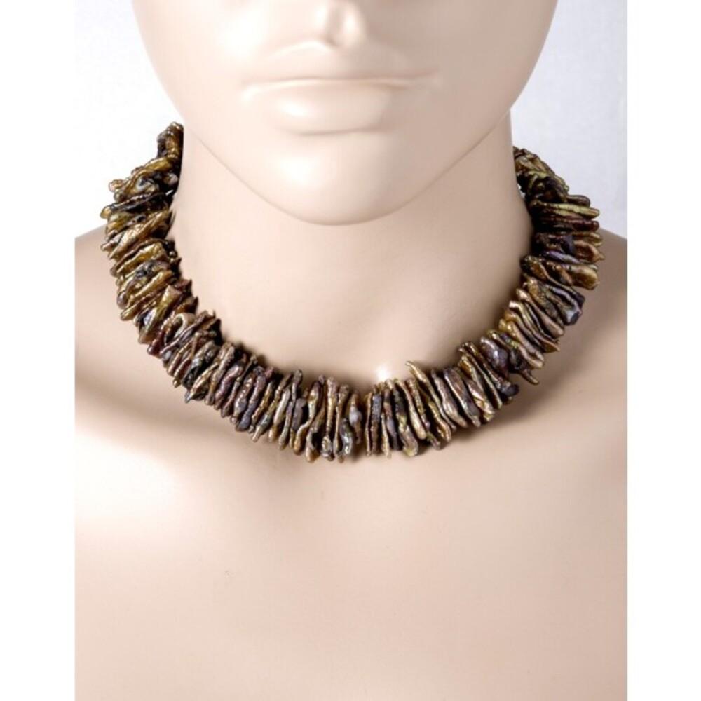 Antike Perlenkette Jpanische Biwaperlen braun pink grün rose gold Silber 925